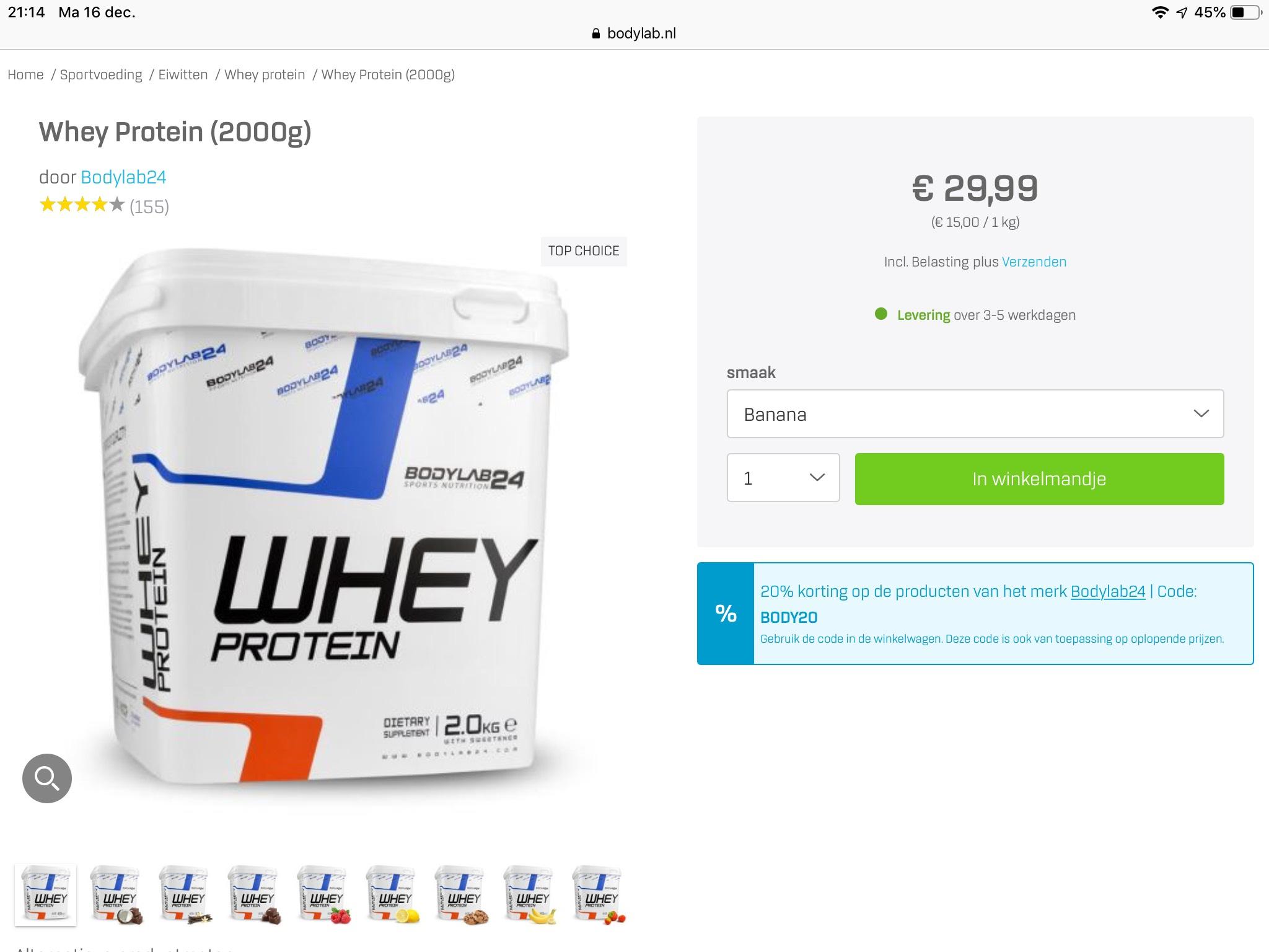 Bodylab Whey van €30 voor €21 met code BL30