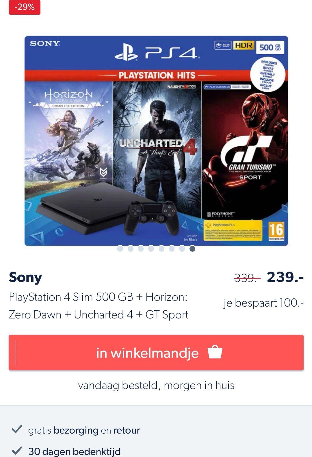 [Wehkamp] Playstation 4 slim 500gb + controller, uncharted 4, horizon zero dawn complete edition, gran turismo sport