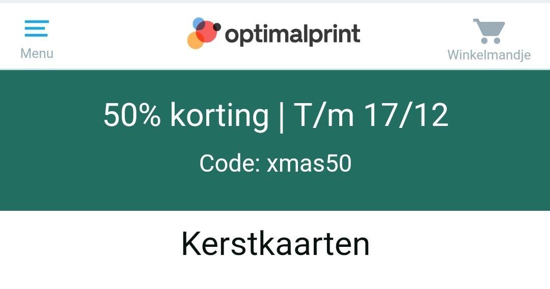 Optimalprint - T/m 17-12 50% (en mij lukte het zelfs om 60%) korting op kerstkaarten