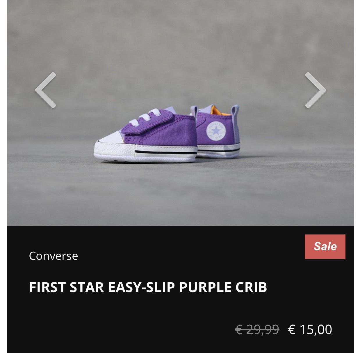 Kidslovesneakers.nl Converse FIRST STAR EASY-SLIP PURPLE CRIB