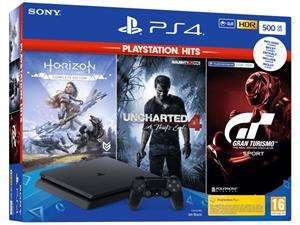 PlayStation 4 Slim 500GB Black + Horizon Zero Dawn + Uncharted 4 + Gran Turismo Sport @ Game Mania