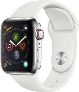 Apple Watch Series 4 GPS + Cellular 40mm zilver staal Sportarmband wit (Amazon.fr)