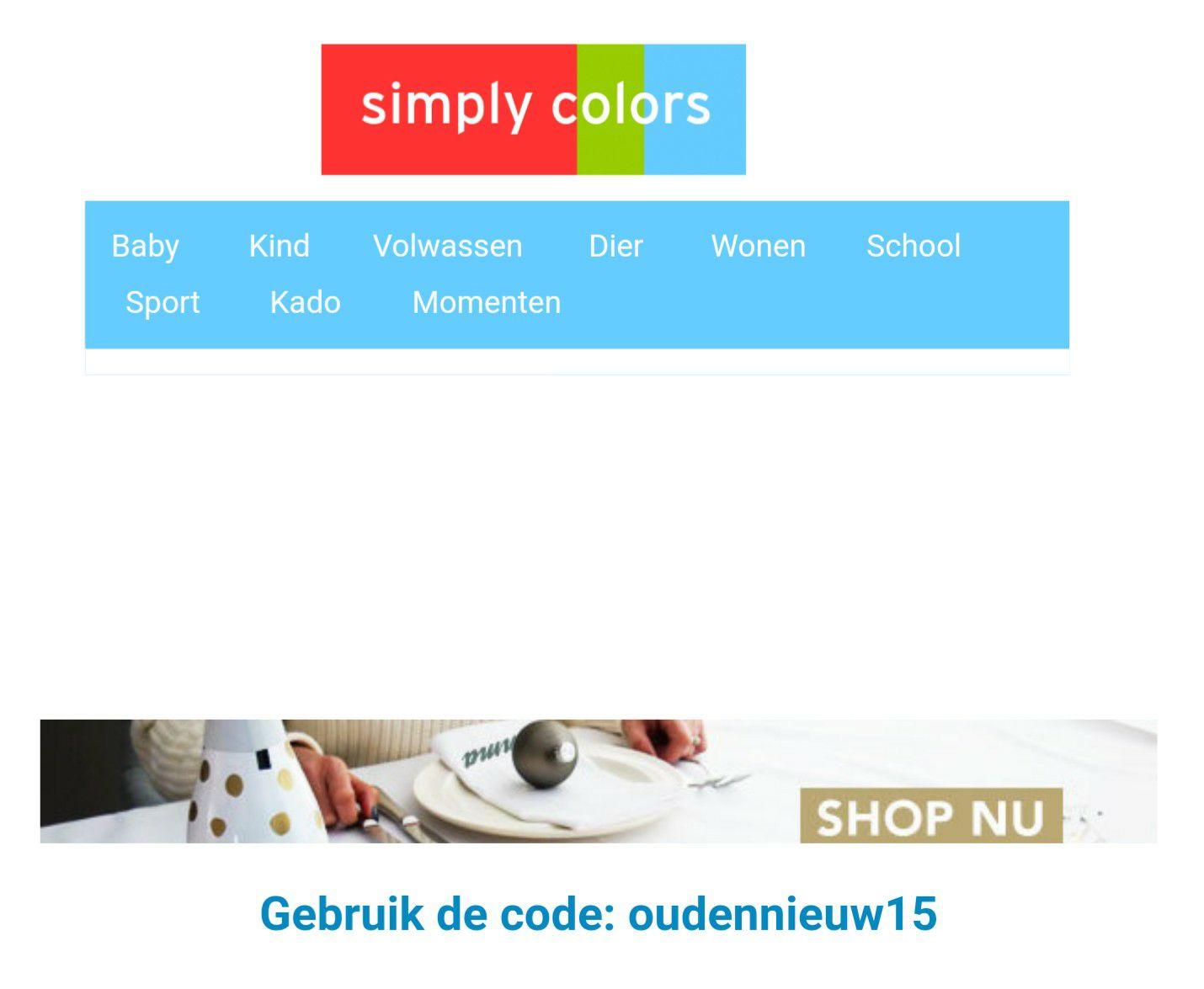 15% korting bij simply colors