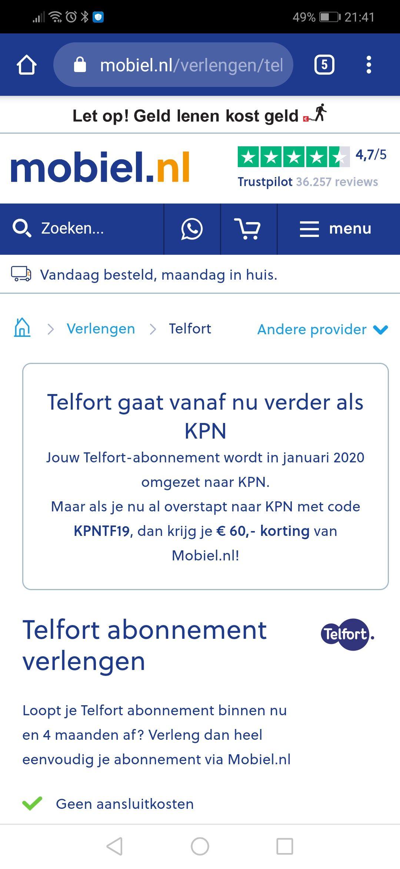 MOBIEL.NL In December overstappen van Telfort naar KPN, korting bij MOBIEL.NL van 60 euro!