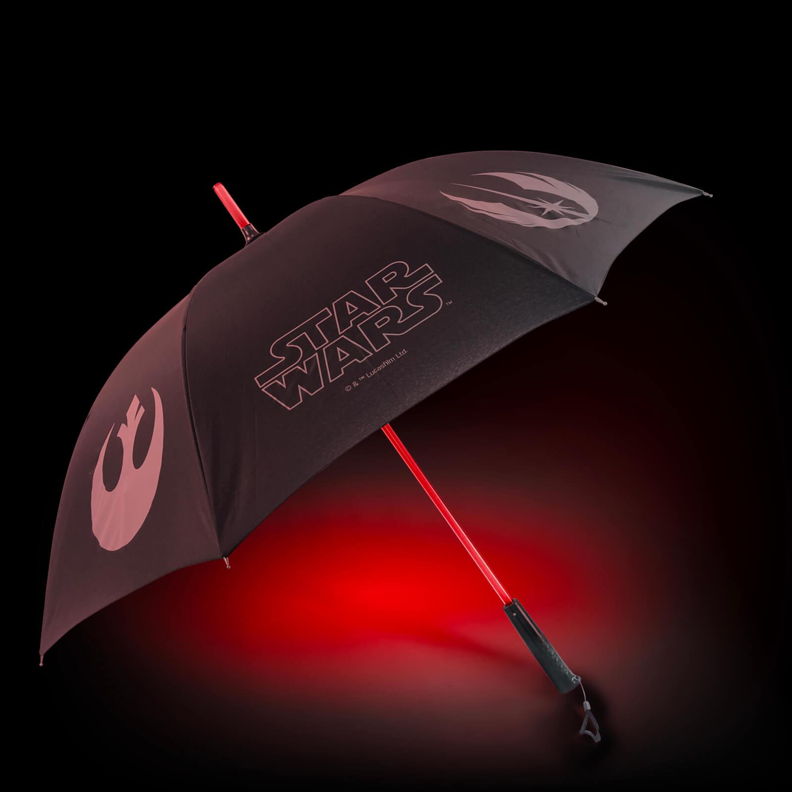 (pre-order 30/12) Star Wars lightsaber paraplu met licht (rood of blauw) @ zavvi