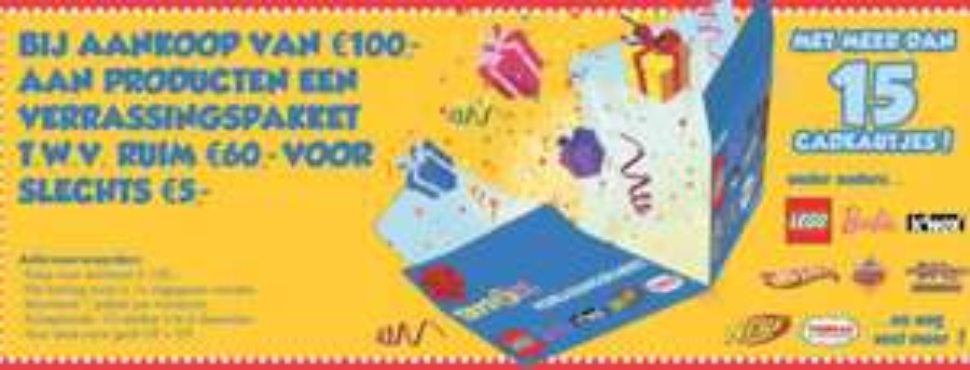 Bij aankoop van €100 een verrassingspakket t.w.v. €60 voor €5 @ Toys XL