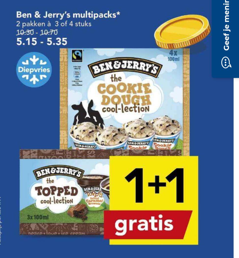 Ben & Jerry's multipacks 1+1 gratis bij Deen