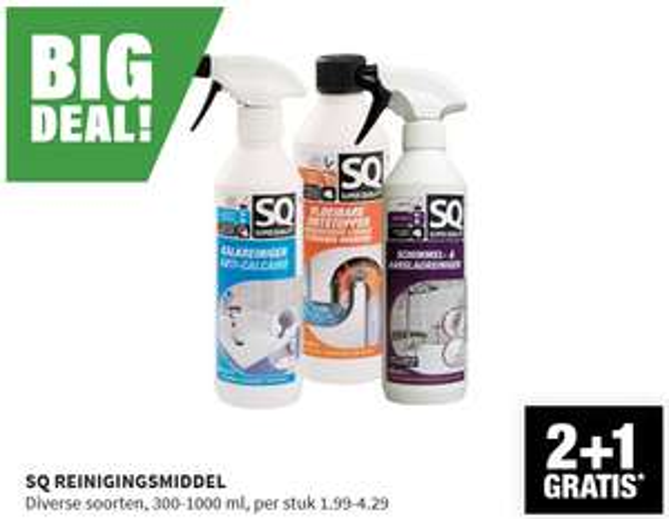 SQ reinigingsmiddelen nu 2 + 1 gratis @bigbazar