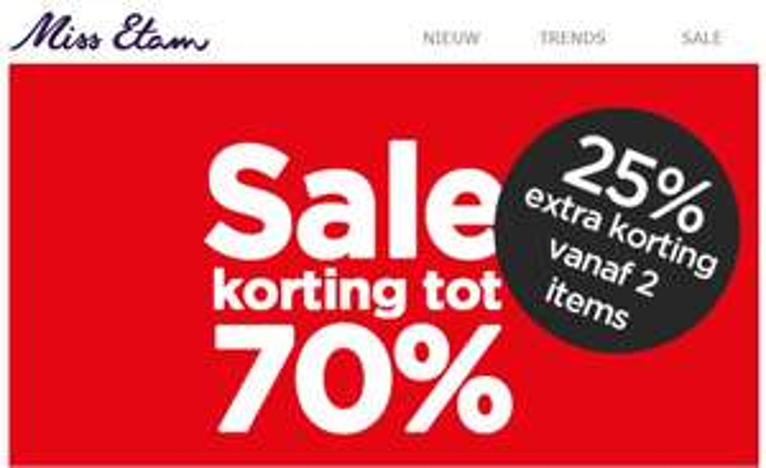 SALE tot -70% + 25% extra korting (va 2 items) @ Miss Etam