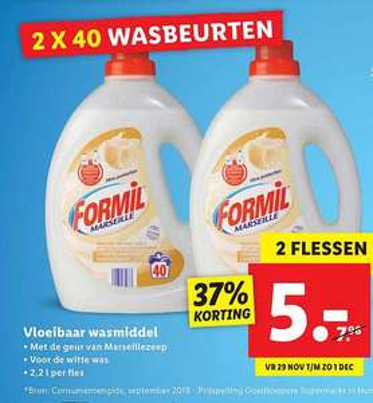 Lidl Formil witwasmiddel Marseillezeep - 2 Flessen 4.4 liter voor €5