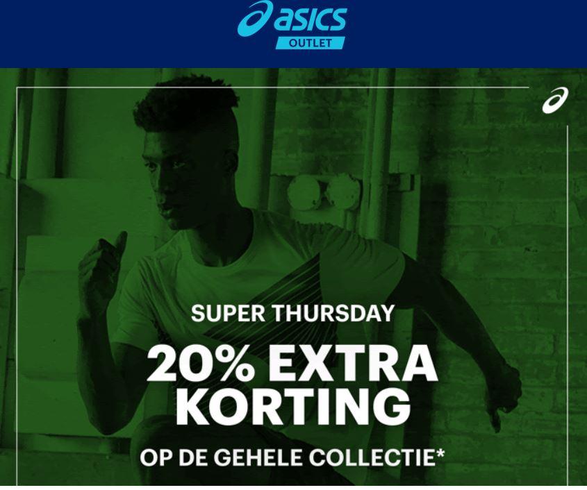 Super Thursday: 20% EXTRA korting + 10% @ Asics Outlet