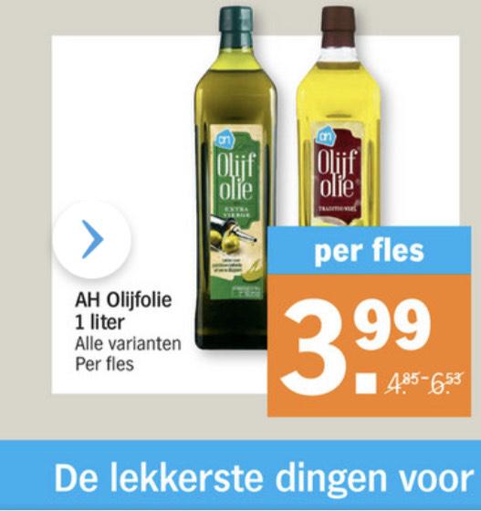 Olijfolie 3,99 voor 1 liter bonus Albert Heijn 39% korting