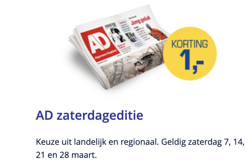 €1,- korting op het AD op zaterdag 7, 14, 21 en 28 maart!