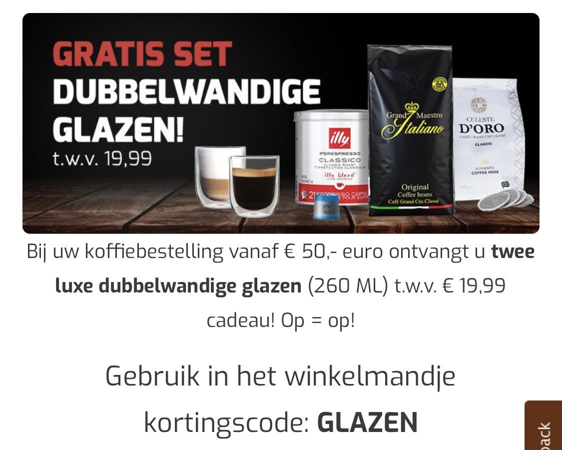 Gratis dubbelwandige glazen t.w.v 19.99 bij besteding vanaf 50 euro