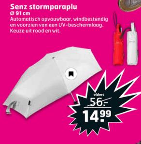 [V.a. 3 maart] Senz Smart Stormparaplu rood of wit voor €14,99 @ Trekpleister winkels