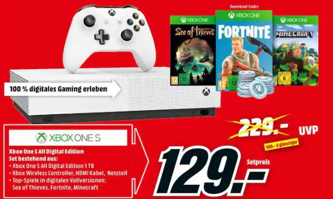 [Mediamarkt grensdeal] Microsoft Xbox One S 1TB – All Digital Edition incl 3 games