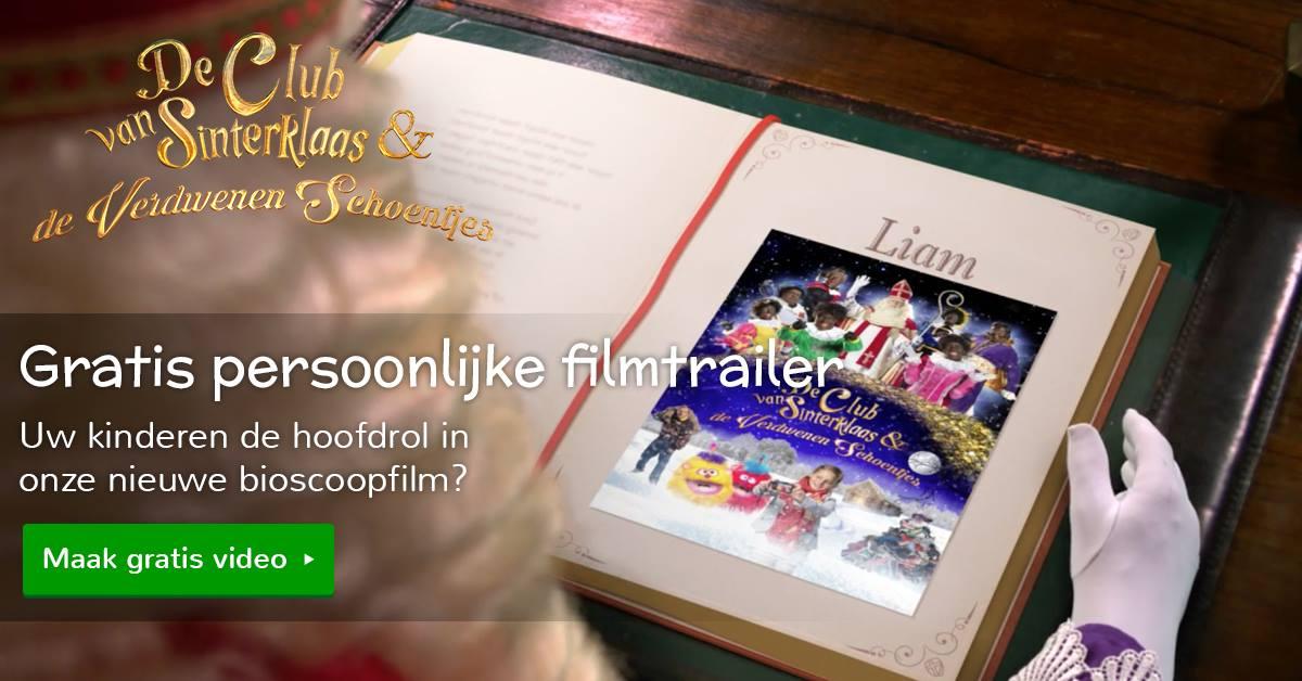 Maak een persoonlijke filmtrailer van De Club van Sinterklaas en de verdwenen schoentjes met jouw kind in de hoofdrol!
