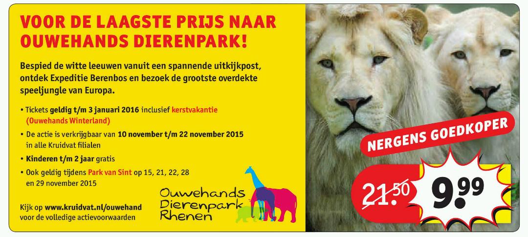 Tickets Ouwehands Dierenpark Rhenen voor €9,99 @ Kruidvat