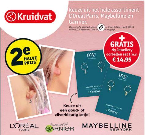 Gratis My Jewellery oorbellen t.w.v. €14,95 - aankoop va €3,73 @ Kruidvat