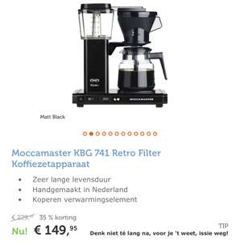 Moccamaster Koffiezetapparaat in diverse kleuren