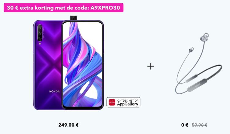 Honor 9X Pro 6GB/256GB + Honor Sport Pro voor €209 bij Honor
