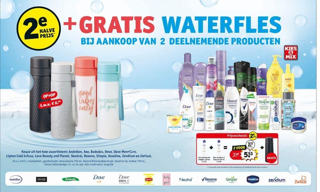 Gratis waterfles bij aankoop van 2 deelnemende actieproducten + 2e halve prijs @ Kruidvat