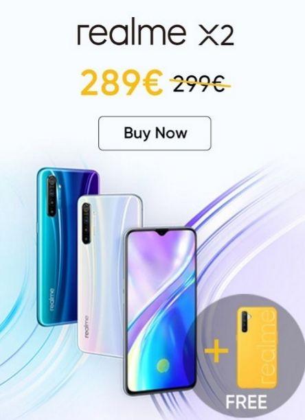 €10 korting + gratis case op geselecteerde Realme telefoons (X2, X2 Pro en 5 Pro)