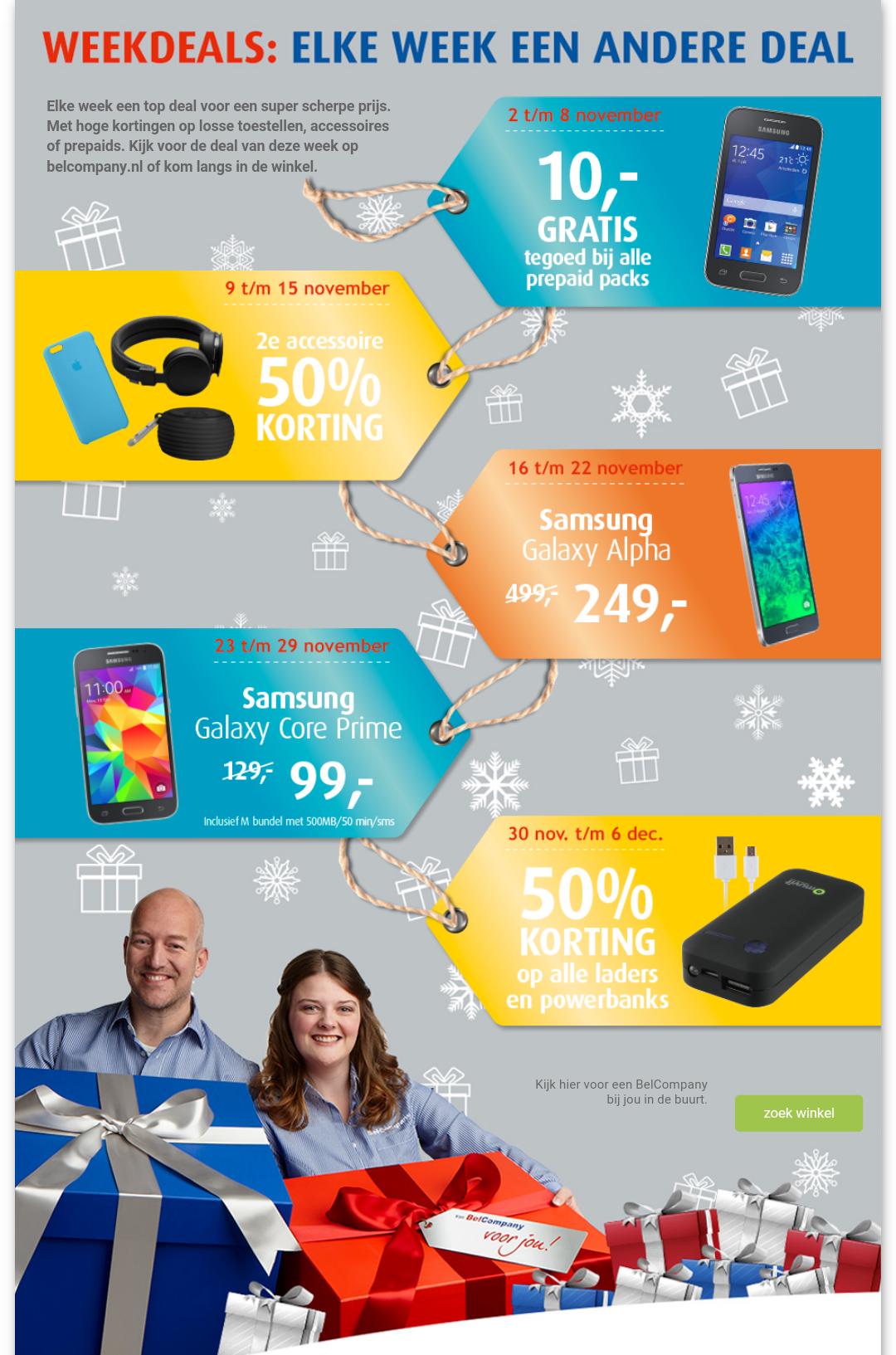 Samsung Galaxy Alpha 32GB - €249 of Samsung Galaxy Core Prime 8GB - €99 (Weekdeals) @ Belcompany