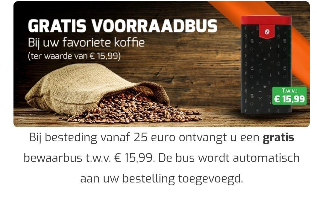 Gratis koffievoorraadbus bij besteding van minimaal 25 euro. Helemaal leuk icm de Gran Maestro actie