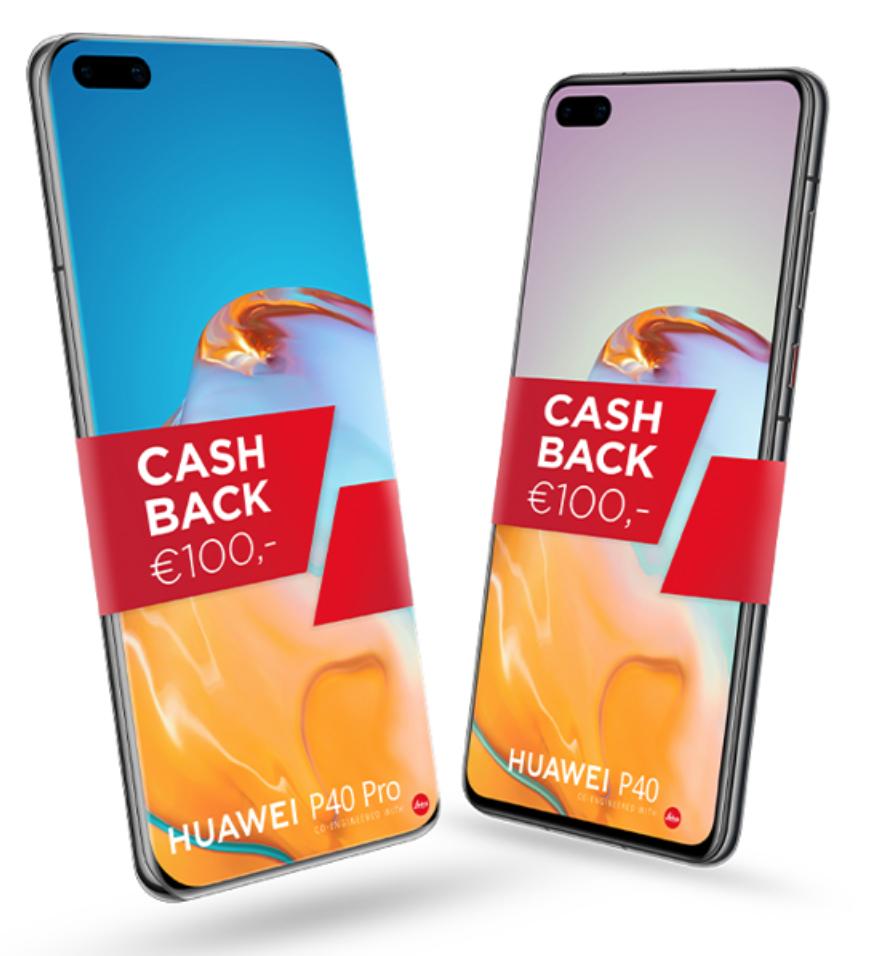 100 euro cashback bij aankoop Huawei P40 Pro