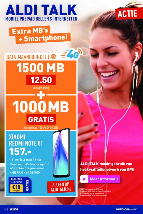 Xiaomi Redmi Note 8T + €10 beltegoed in de aanbieding bij Aldi Talk