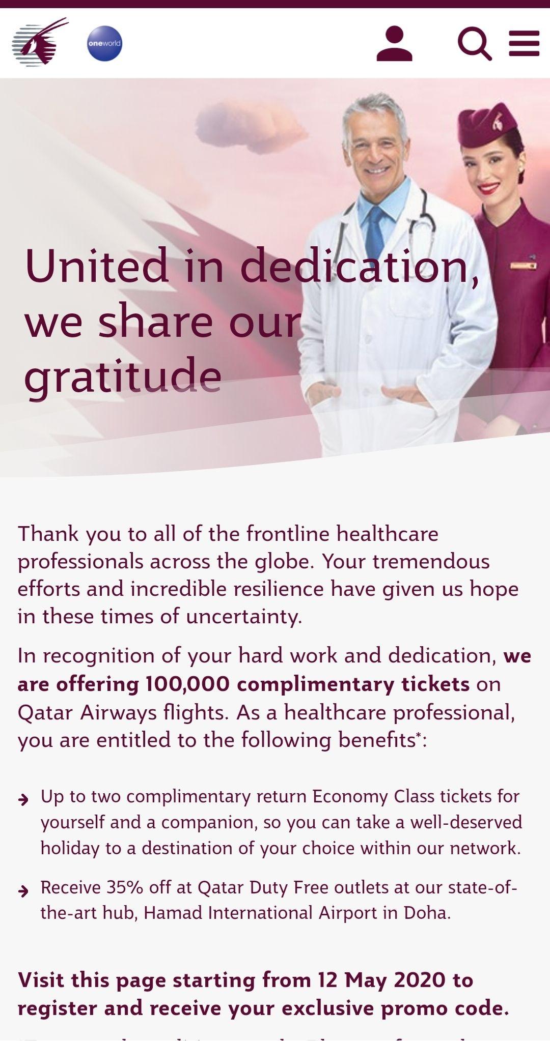 100.000 gratis vliegtickets voor medisch personeel @ Qatar Airways