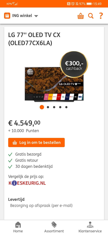 """LG 77"""" CX oled TV (oled77cx6pla) ing rentepunten: 10.000 en €300 cashback."""