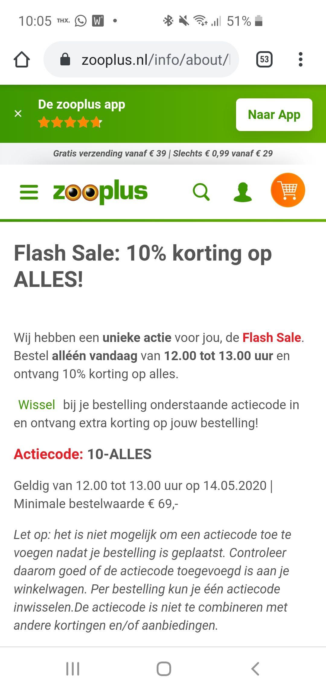 Flash sale Zooplus 10% korting op alles