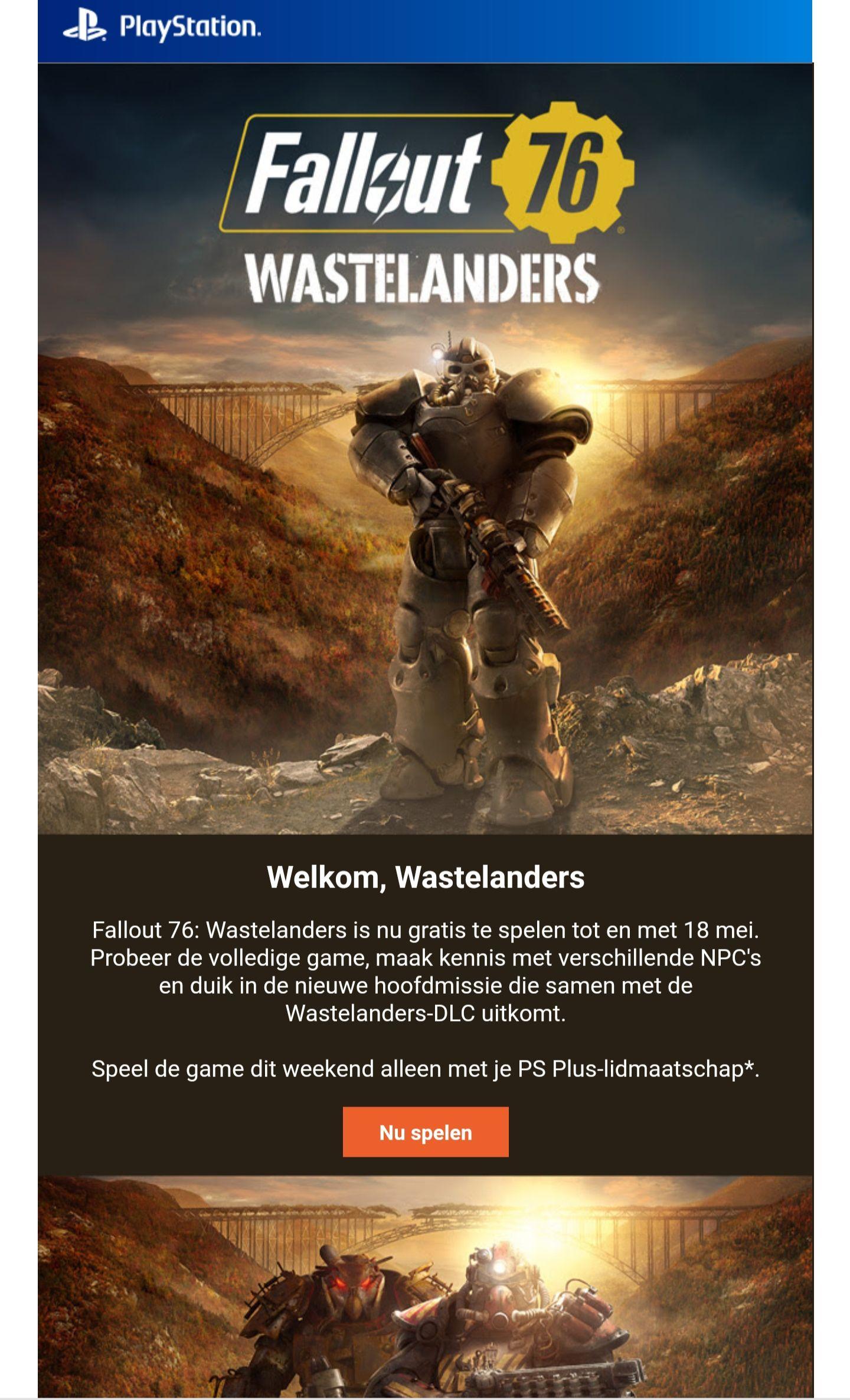 Fallout 76 (PS4) gratis weekend psn store