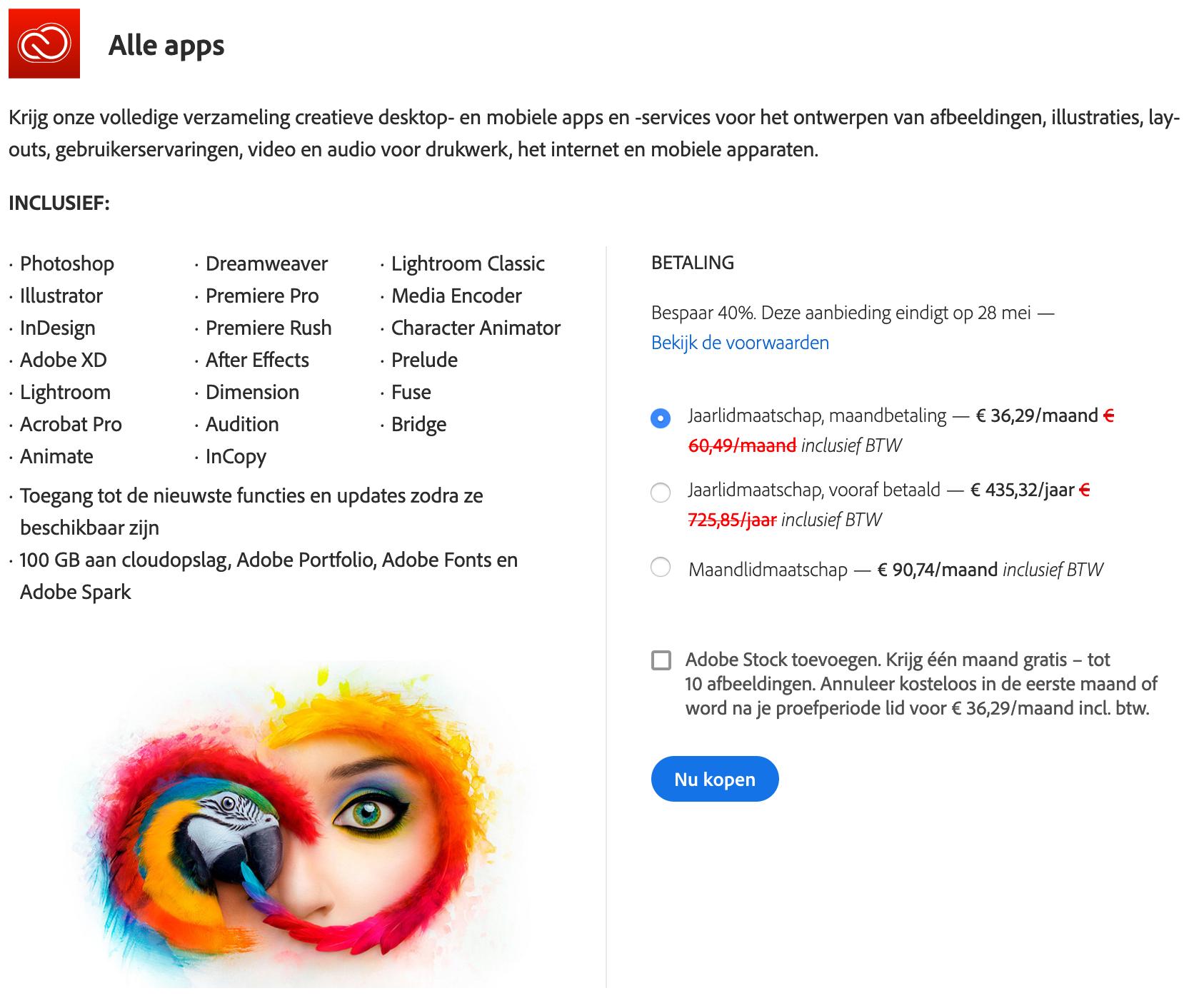 Adobe Creative Cloud (Alle apps) 40% korting