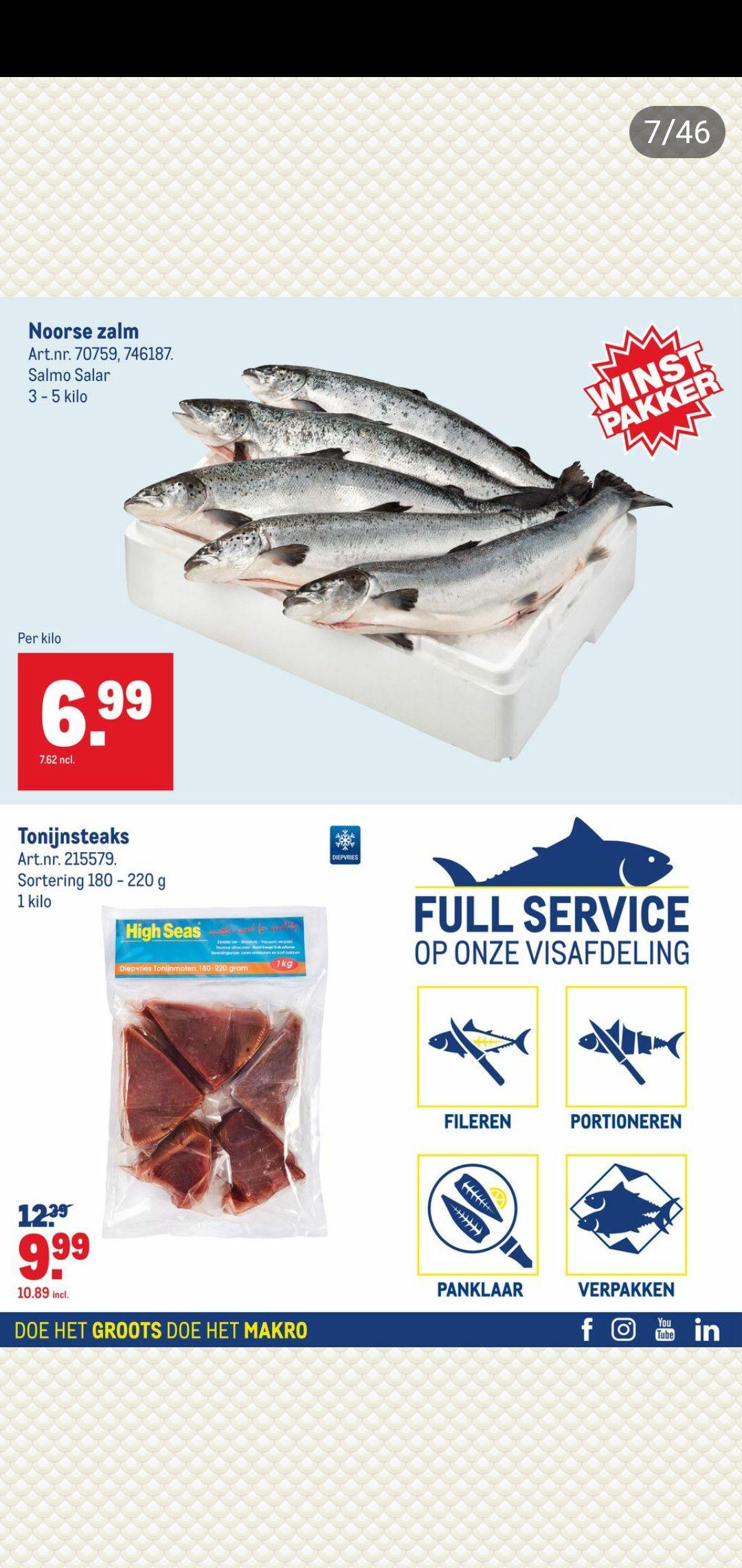 Makro Noorse Zalm €7,62 per kilo @Makro