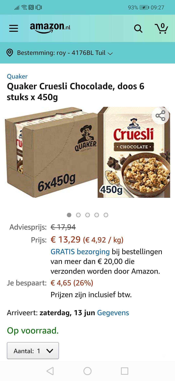 Cruesli chocolade 450 gram 6 pakken