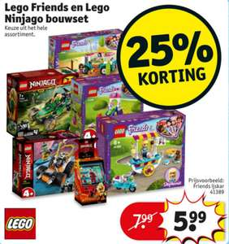 25% korting op Lego Ninjago en Lego Friends bouwset bij Kruidvat