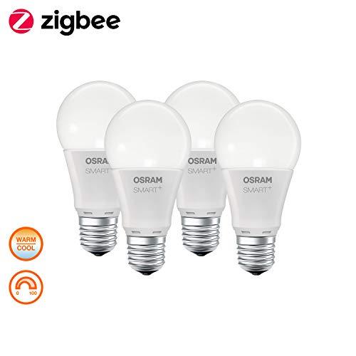 4x OSRAM Smart+ LED, ZigBee Lampen E27 Sockel, warmwit - daglicht (2000K - 6500K), dimbaar, Compatibel met Philips Hue Bridge