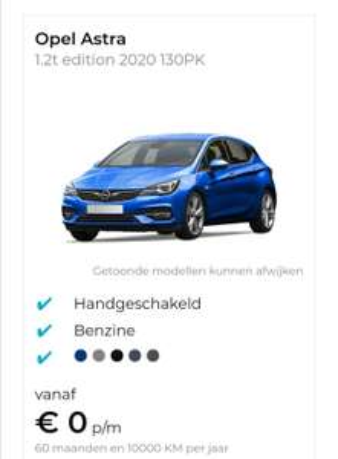 Opel Astra 1.2t edition 2020 130PK private lease zonder basisprijs.