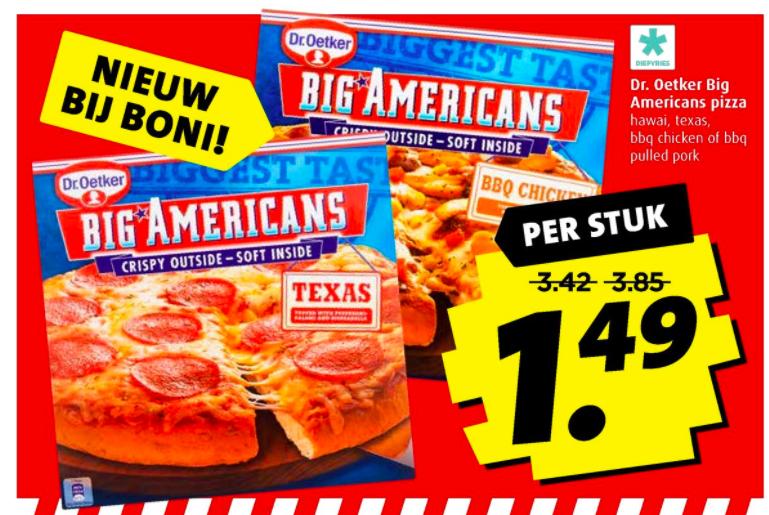 Tot 61% Korting!! Dr. Oetker Big Americans pizza voor €1,49 @Boni