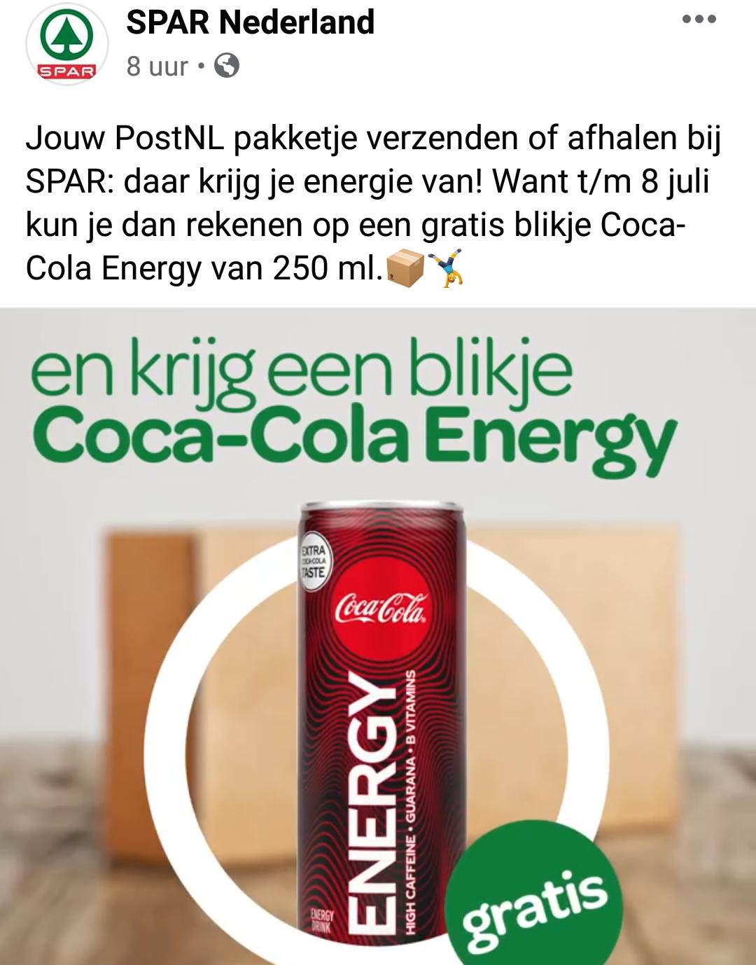 Gratis Coca Cola Energy bij ophalen of verzenden PostNL bij Spar