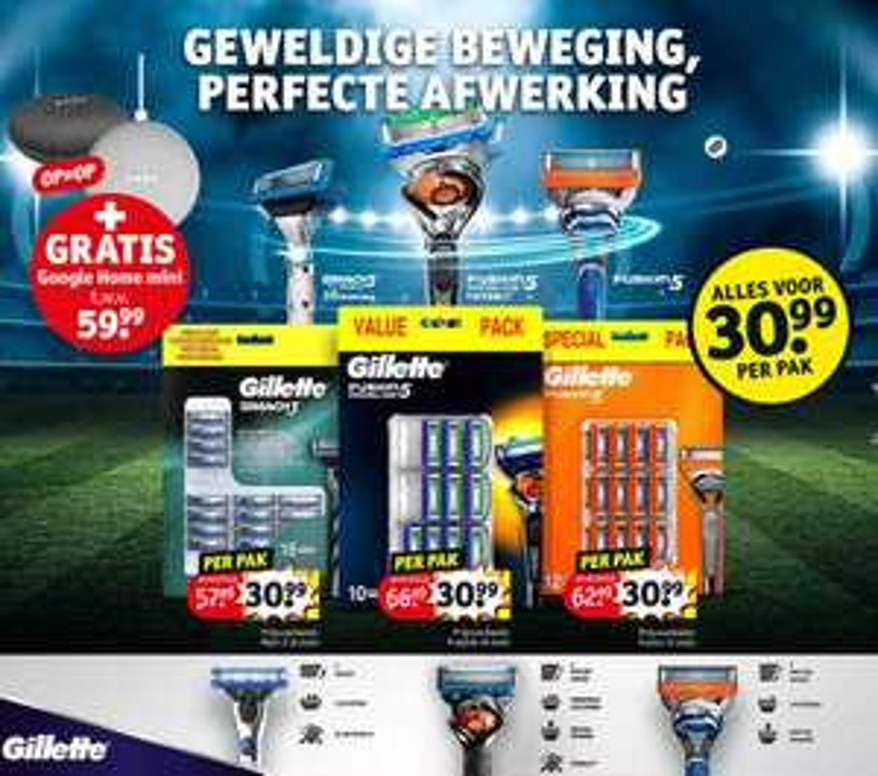 Gratis Google Home Mini b.a.v. Gillette voordeelpak € 30,99 @Kruidvat