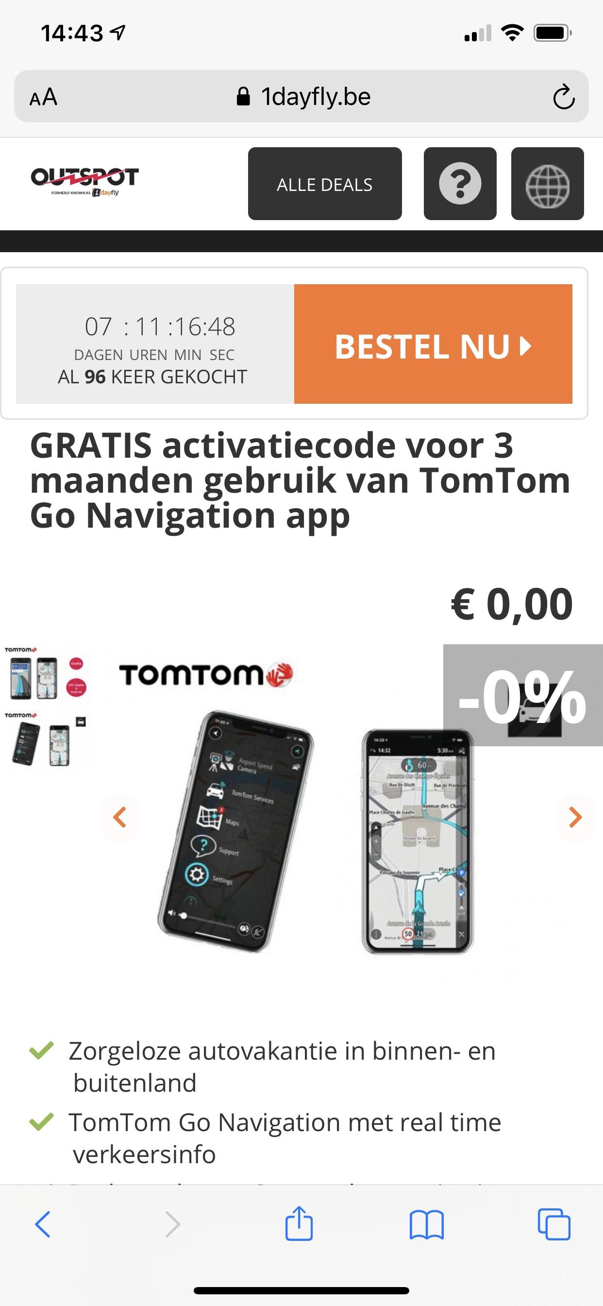 3 à 4 maanden gratis TomTom Go
