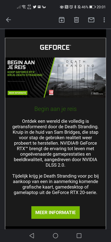 Death Stranding bij aanschaf van een geselecteerde RTX videokaart @Nvidia