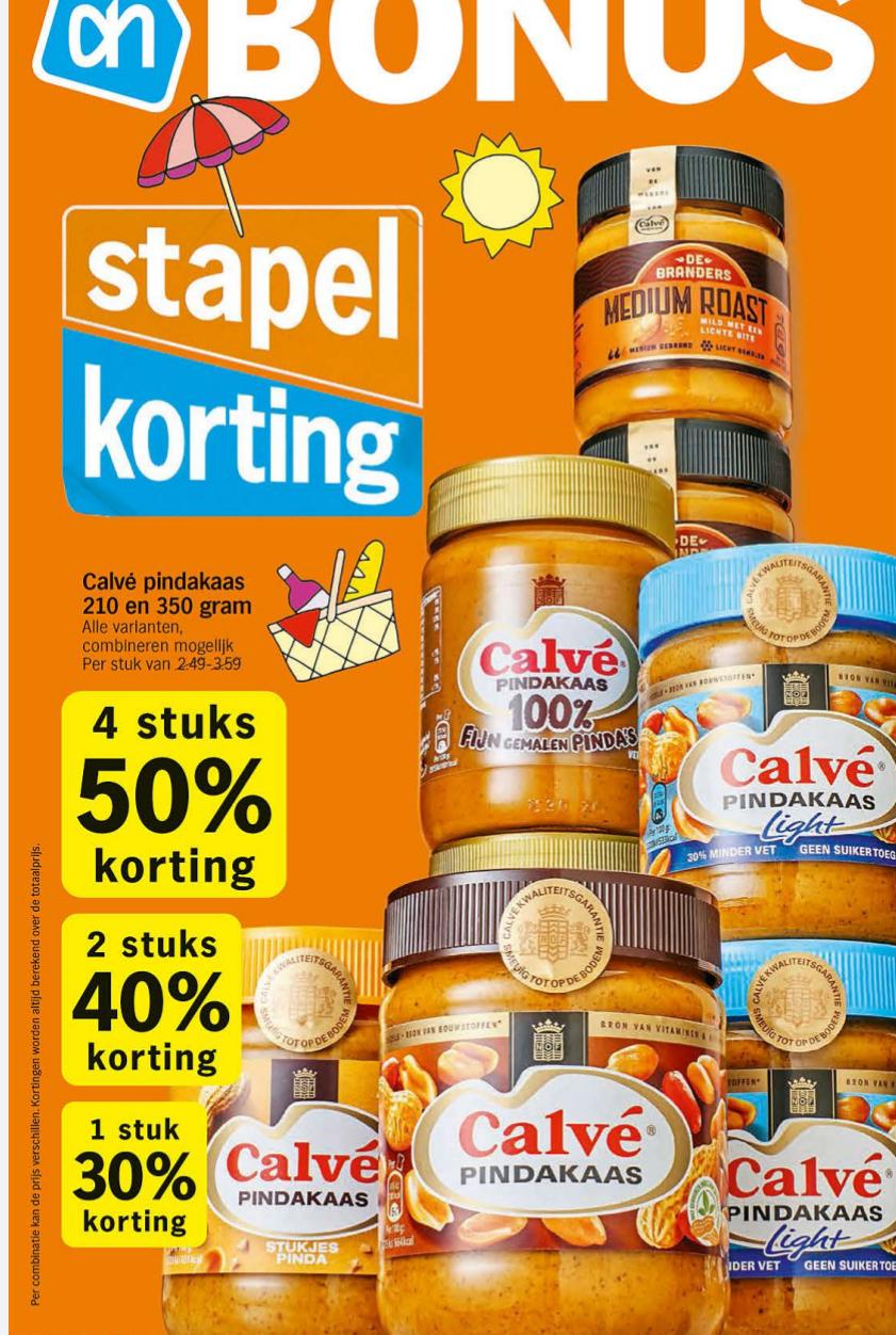 50% korting op Calvé pindakaas