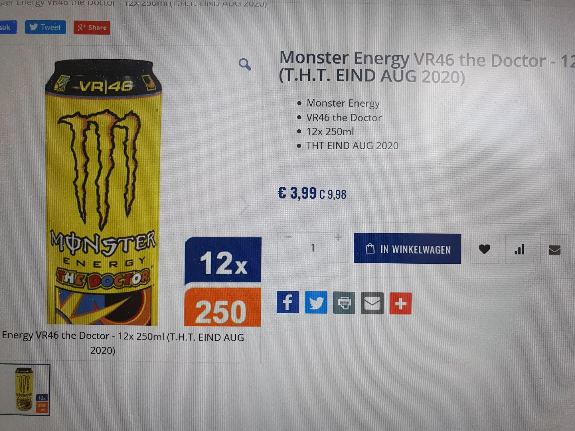 Monster energy VR46 the Doctor 12x 250ml blikjes voor 3.99 @FoodWorldXL