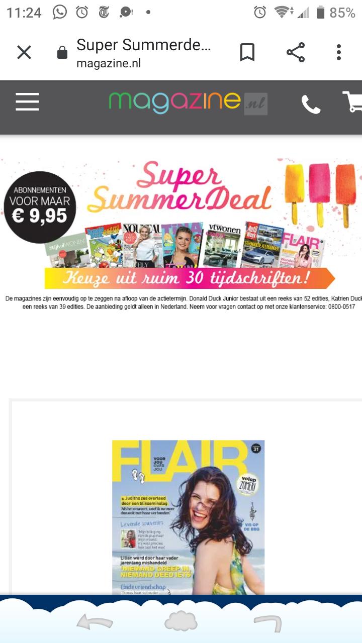 Magazine.nl 4/6 nummers voor €2,07 na cashback. Anders €9,95