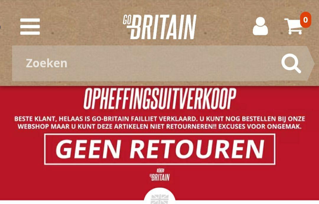 Opheffingsuitverkoop Go-Britain, tot 75% korting